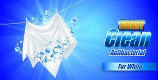 Projeto do molde do empacotamento para o pó de lavagem Realístico branco de matéria têxtil para anunciar o detergente Imagem de Stock Royalty Free