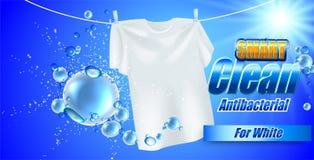 Projeto do molde do empacotamento para o pó de lavagem Realístico branco de matéria têxtil para anunciar o detergente Fotografia de Stock