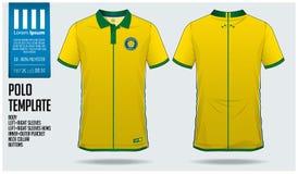 Projeto do molde do esporte do t-shirt de Brasil Team Polo para o jérsei de futebol, o jogo do futebol ou o sportwear Uniforme cl Fotografia de Stock