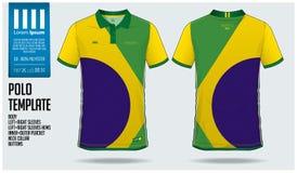 Projeto do molde do esporte do t-shirt de Brasil Team Polo para o jérsei de futebol, o jogo do futebol ou o sportwear Uniforme cl Fotos de Stock Royalty Free
