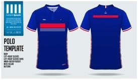 Projeto do molde do esporte do t-shirt de França Team Polo para o jérsei de futebol, o jogo do futebol ou o sportwear Uniforme cl Imagem de Stock Royalty Free