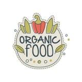 Projeto do molde do logotipo do alimento biológico, crachá para a despensa saudável, loja do vegetariano, café do vegetariano, em ilustração do vetor