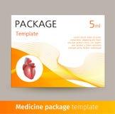 Projeto do molde do pacote da medicina com coração realístico do órgão humano ilustração stock