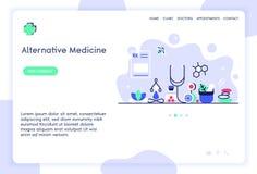 Projeto do molde do Web site da medicina alternativa fotos de stock