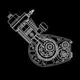 Projeto do motor de Motocycle isolado no fundo preto Pode ser usado como uma ilustração para a alto-tecnologia, sistemas e Fotos de Stock