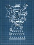 Projeto do motor de Rocket Pode ser usado como uma ilustração para a alto-tecnologia, o desenvolvimento de engenharia e a pesquis Imagens de Stock
