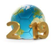 Projeto 2019 do mundo da bola de futebol 3D-Illustration Elementos disto Imagem de Stock