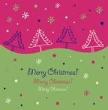 Projeto do Natal Beira do feriado Árvores de Natal Cartão do Xmas com abetos vermelhos decorativos Fotos de Stock