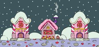 Projeto do Natal com as casas feericamente na neve Imagem de Stock