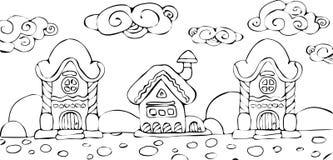 Projeto do Natal com as casas feericamente na neve Fotografia de Stock Royalty Free