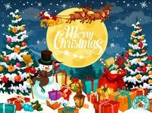 Projeto do Natal com Santa, boneco de neve e cervos ilustração royalty free