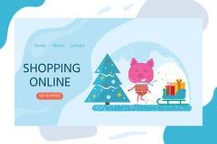 Projeto do Natal para o página da web de aterrissagem, apps móveis com porco, tre fotografia de stock