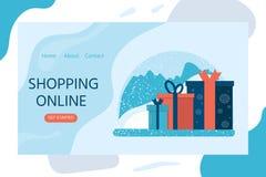 Projeto do Natal para o página da web de aterrissagem, apps móveis com presentes imagens de stock royalty free