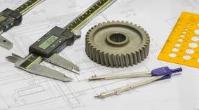 Projeto do operador e peças automotivos da inspeção Fotografia de Stock