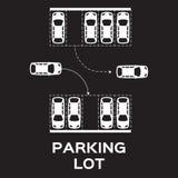 Projeto do parque de estacionamento da vista superior Imagens de Stock Royalty Free