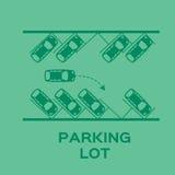 Projeto do parque de estacionamento da vista superior Fotografia de Stock Royalty Free
