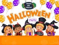 Projeto do partido de Dia das Bruxas com as crianças bonitos no chapéu Imagem de Stock Royalty Free