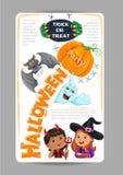 Projeto do partido de Dia das Bruxas com o inseto bonito do convite das crianças Imagens de Stock