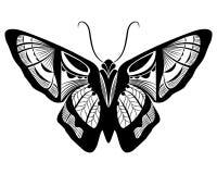 Projeto do preto da borboleta & o branco da silhueta ilustração royalty free