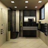 Projeto do preto do banheiro ilustração do vetor