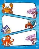 Projeto do quadro com animais de mar Imagens de Stock Royalty Free