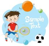 Projeto do quadro com o menino que joga esportes Fotos de Stock Royalty Free