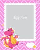 Projeto do quadro da foto para crianças com dinossauro Molde decorativo para a ilustração do vetor do bebê Estrutura da foto das  Foto de Stock Royalty Free