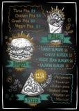 Projeto do quadro-negro da lista do menu do giz para a pizza, os hamburgueres e os pães árabes, ilustração gráfica tirada mão ilustração stock
