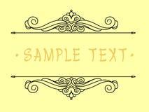 Projeto do quadro do vintage Ilustração do vetor Fundo amarelo preto Foto de Stock Royalty Free