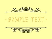 Projeto do quadro do vintage Ilustração do vetor Fundo amarelo preto Imagens de Stock