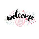 Projeto do sinal bem-vindo com rotulação da escova e as flores cor-de-rosa tiradas mão ilustração do vetor