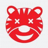 Projeto do sinal da ilustração do ícone da emoção de Tiger Face ilustração stock