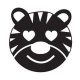 Projeto do sinal da ilustração do ícone da emoção de Tiger Face ilustração royalty free