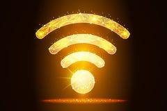 Projeto do sumário do ícone de Wi-Fi criado sob a forma das estrelas e das constelações no fundo do espaço, isolado do ponto baix fotografia de stock royalty free