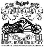 Projeto do t-shirt da etiqueta da motocicleta com ilustração da costeleta feita sob encomenda ilustração royalty free