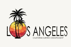 Projeto do t-shirt da rotula??o de Los Angeles ilustração stock