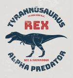 Projeto do t-shirt do rex do tiranossauro, cópia, tipografia ilustração do vetor