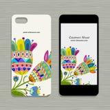 Projeto do telefone celular, fundo floral Fotos de Stock