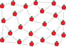 Projeto do teste padrão das maçãs e rede vermelhos da maçã ilustração do vetor