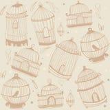 Projeto do teste padrão do pássaro e das gaiolas ilustração stock