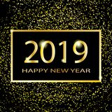 Projeto do texto do ano novo feliz 2019 Ilustração do cumprimento do vetor com números e sparkles dourados em um fundo escuro ilustração do vetor