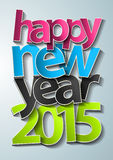 Projeto do texto do ano novo feliz 2015 do vetor Fotos de Stock Royalty Free