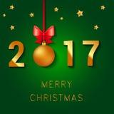 Projeto do texto do ano novo feliz 2017 A ilustração do cumprimento do vetor com bolas do Natal curva-se e estrelas Foto de Stock