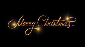 Projeto do texto do ouro do Feliz Natal no fundo preto da cor Fotografia de Stock Royalty Free