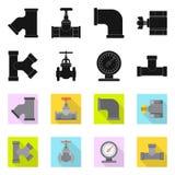 Projeto do vetor do ícone da tubulação e do tubo Grupo de ícone do vetor da tubulação e do encanamento para o estoque ilustração do vetor