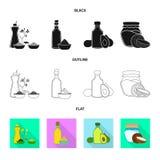 Projeto do vetor do ícone saudável e vegetal Ajuste do símbolo de ações saudável e da agricultura para a Web ilustração stock