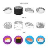 Projeto do vetor do ícone do sushi e do arroz Ajuste do ícone do vetor do sushi e do atum para o estoque ilustração royalty free