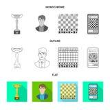 Projeto do vetor do checkmate e do ícone fino Ajuste da ilustração do vetor do estoque do checkmate e do alvo ilustração stock