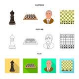 Projeto do vetor do checkmate e do ícone fino Ajuste do símbolo de ações do checkmate e do alvo para a Web ilustração royalty free