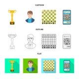 Projeto do vetor do checkmate e do ícone fino Coleção do ícone do vetor do checkmate e do alvo para o estoque ilustração royalty free